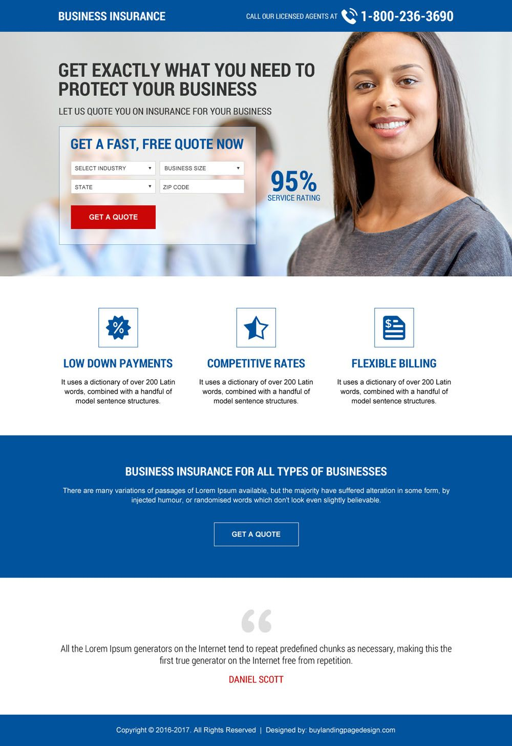 Download Small Business Insurance Landing Page Designs To Capture