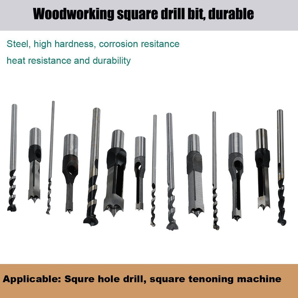 Square Hole Drill Bit 7pcs Woodworking Mortiser Drill Bit Steel Hardness Sharp Durable Mortising Chisel Set 1 2inch In 2020 Woodworking Square Mortiser Mortise Chisel