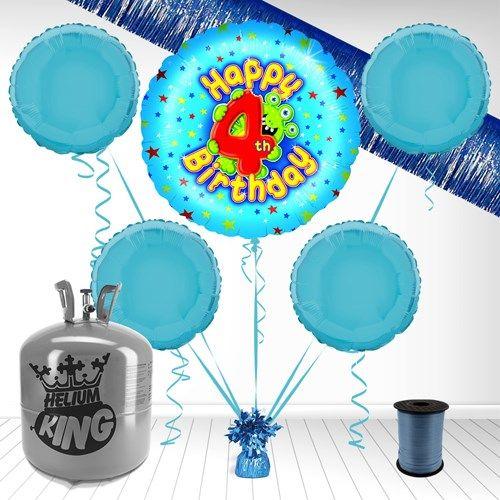 Masser af flotte helium, folieballon og latexballon pakker inkl. pynt, snor og ballonvægt. Her til 4 års fødselsdagen. Folieballoner svæver i ca. 1 uge når de pustes op med helium og er altid imponerende at se på både for gæsterne og hovedpersonen!
