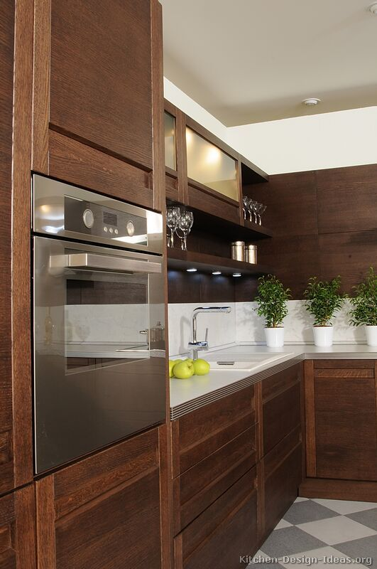 Modern Dark Wood Kitchen Cabinets Penthouse Project
