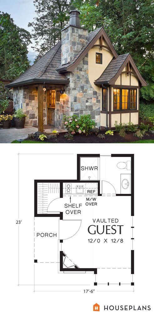 Tudor Style House Plan 1 Beds 1 Baths 300 Sq Ft Plan 48 641 Storybook House Plan Small House Guest Cottage