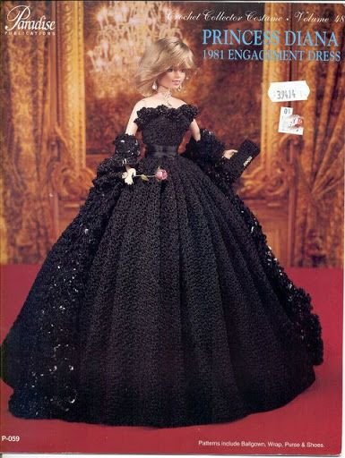 Princess Diana 1981 Engagement Dress for Barbie Paradise #48 Crochet PATTERN NEW