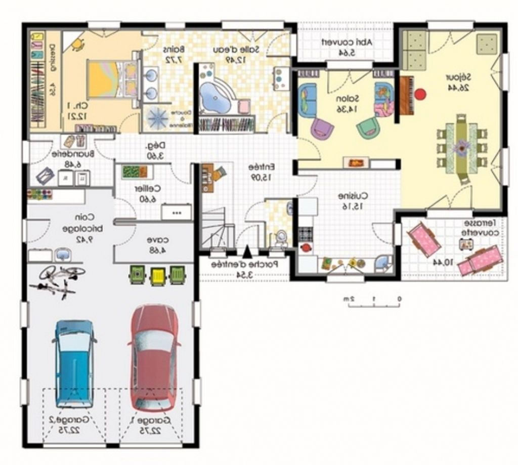 Plan maison 120m2 4 chambres plan de maison plein pied for Plan de maison plein pieds