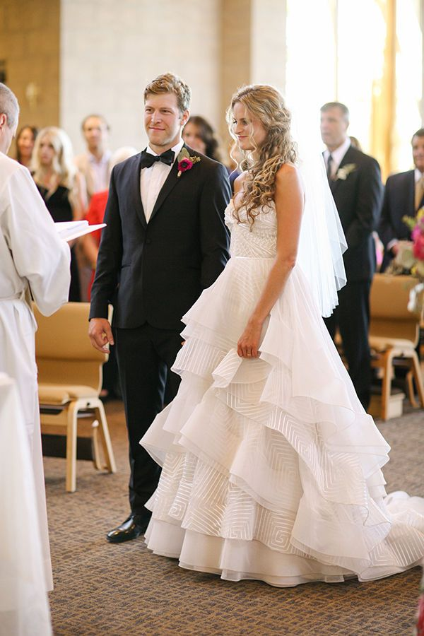 A Bride Wearing Strapless Tiered Wedding Dress And Veil For Colorado Church