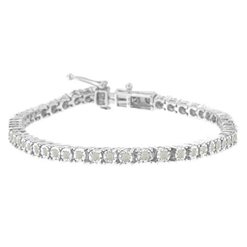 Sterling Silver Rose Cut Diamond Miracle Tennis Bracelet (1 cttw, I-J Color, I3 Clarity)
