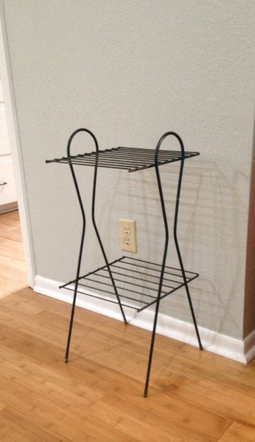 Vintage Green and Black Metal Wire Shelf, Retro Plant Stand, Side Table on Etsy, $40.00