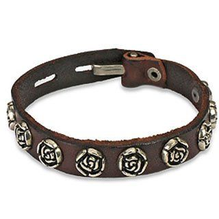 "Brown Vintage Rose Studs Bracelet Wristband Cuff K61 blue palm jewerly. $13.99. leather bracelet. 7.48"" to 8.27"" length. .47"" width. Save 44% Off!"