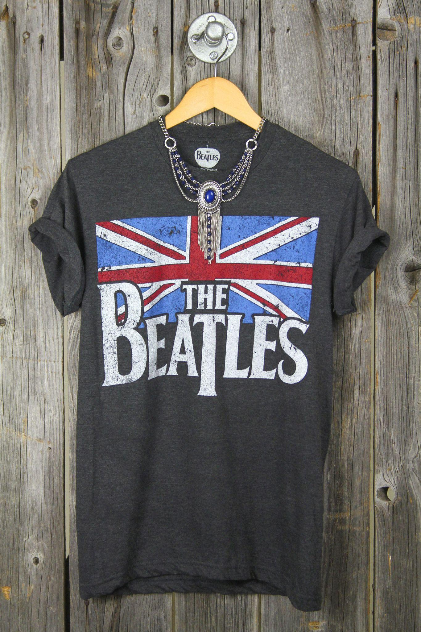 Beatles Union Jack Classic Logo Juniors T-Shirt