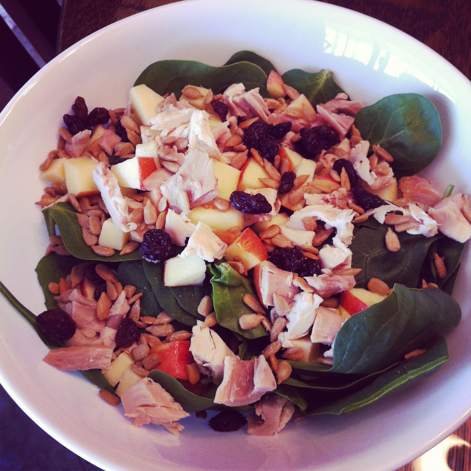 Lunch! Salad with spinach, shredded chicken, apples