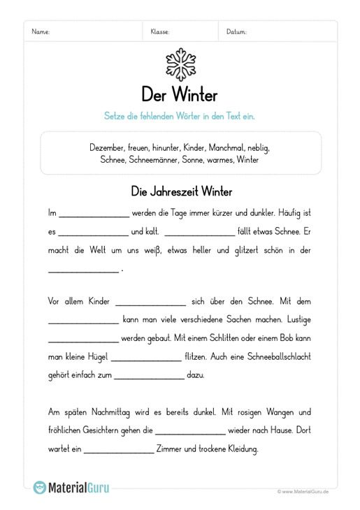 arbeitsblatt l ckentext winter schule arbeitsbl tter f rderschule und deutsch unterricht. Black Bedroom Furniture Sets. Home Design Ideas