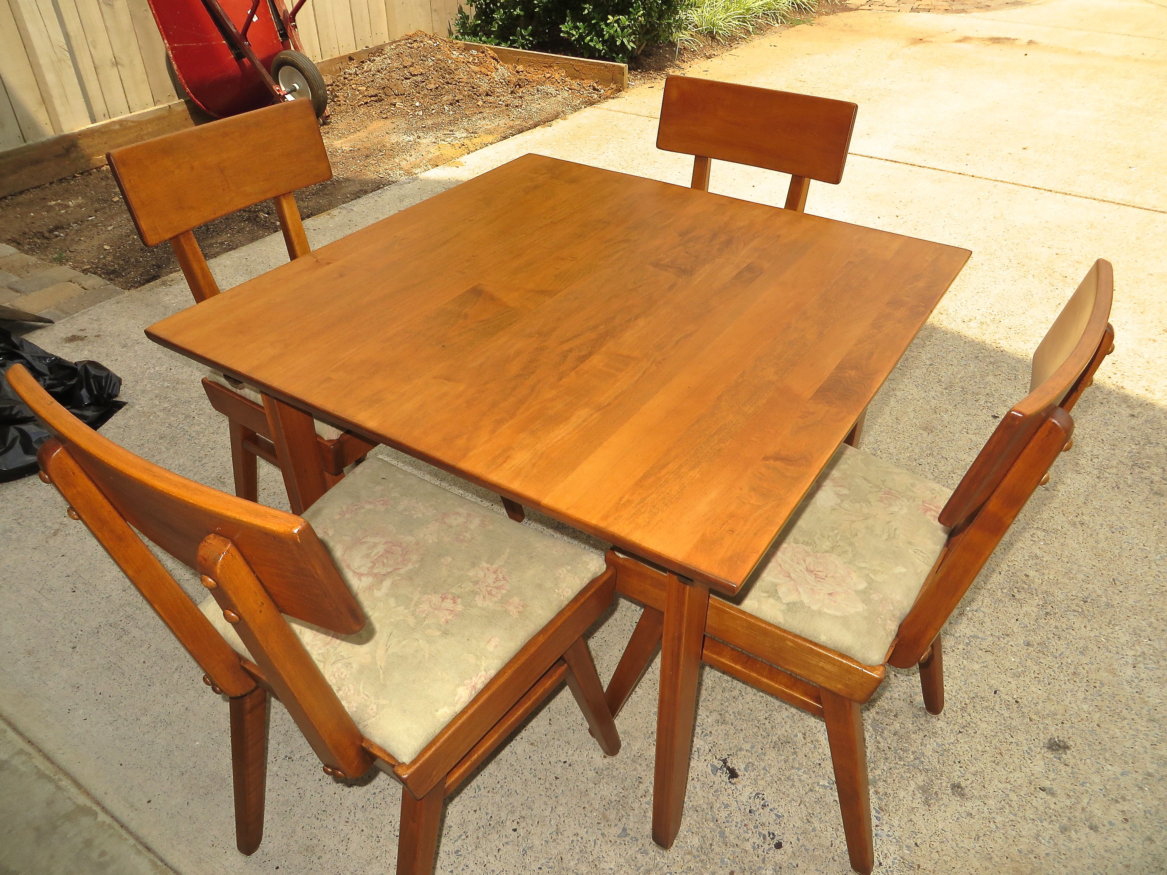 70 Year Old Table And Chairs Restored General Finishes Colonial Maple Gel Stain Followed With