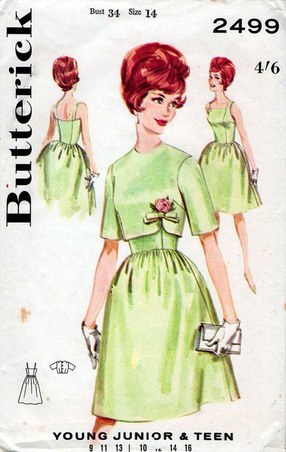 1960er Jahre vollständig umgangen Cocktail-Kleid & Jacke Muster ...