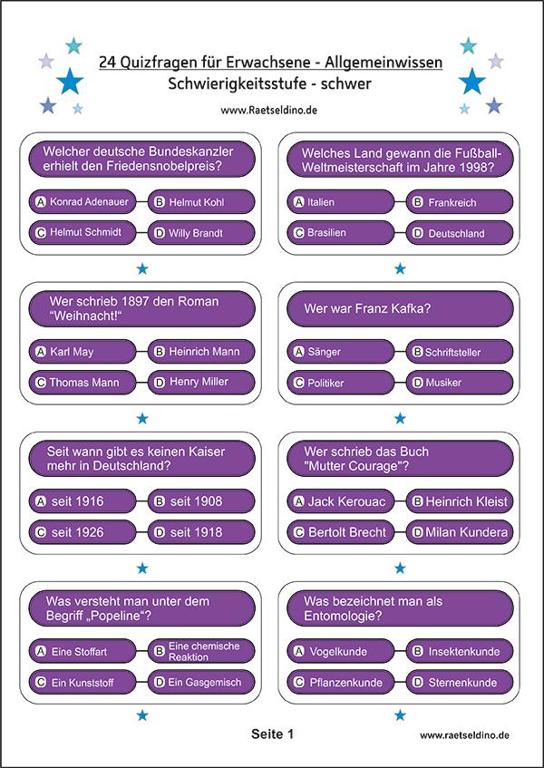 Schwere Quizfragen mit Antworten zum Ausdrucken - Allgemeinwissen ...