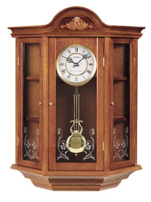 Elegant Dark Brown Solid Oak Curio Wall Clock Has