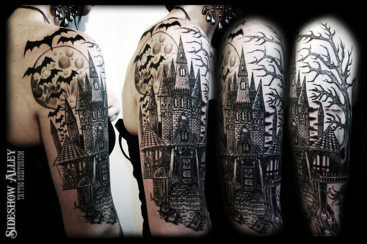 Graveyard Tattoo Designs Haunted Castle Half Sleeve By Sleeve Tattoos Tattoos Graveyard Tattoo
