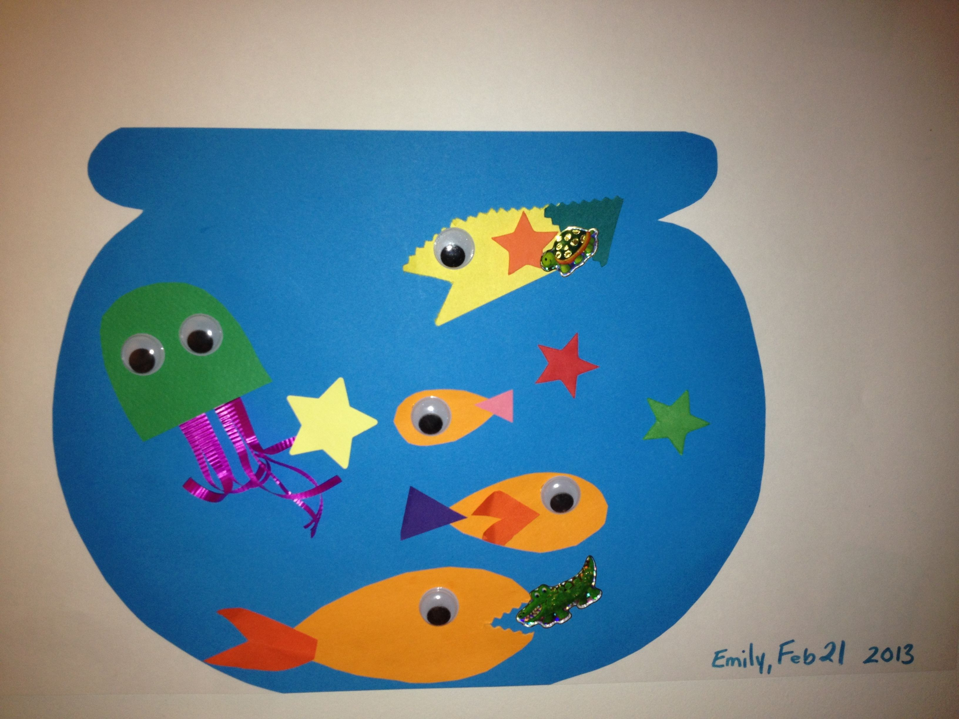Fish Tank Cut And Glue With Paper Google Eyes Stickers And
