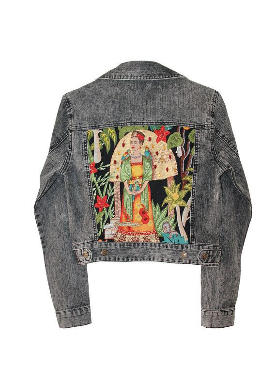 b11e9bd49 Gray Denim jacket Frida Kahlo embellished от AnnaDaGalaOfficial ...