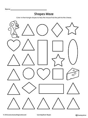 Triangle Shape Maze Printable Worksheet | Printable ...