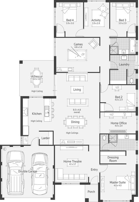 Like The Garage Entry To Kitchen House Layout Plans Dream House Plans Small House Plans