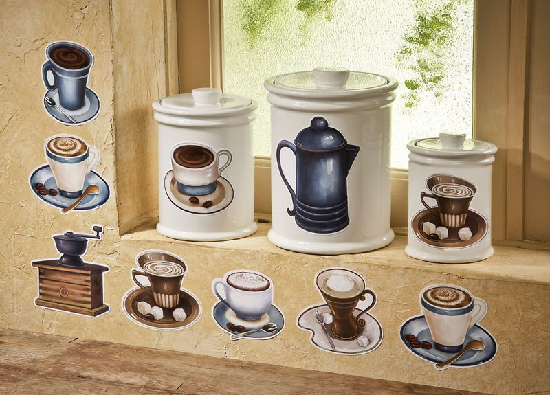 Coffee Cup Theme Latte Mocha Kitchen Removable Wall Decals Stickers