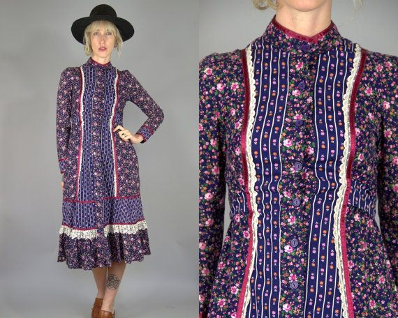 70s Gunne Sax Folk Prairie Dress Blue Rose Floral Cotton High Collar Western Dress  This dress is in great vintage condition as photoed.
