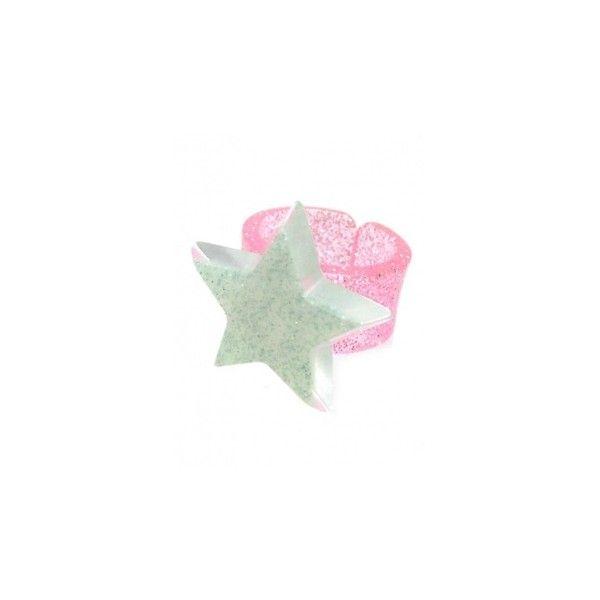 【新品】ミルキーラメスターリング ring(ミント/ピンク) ❤ liked on Polyvore featuring jewelry, rings, accessories, polish jewelry, star jewelry and star ring