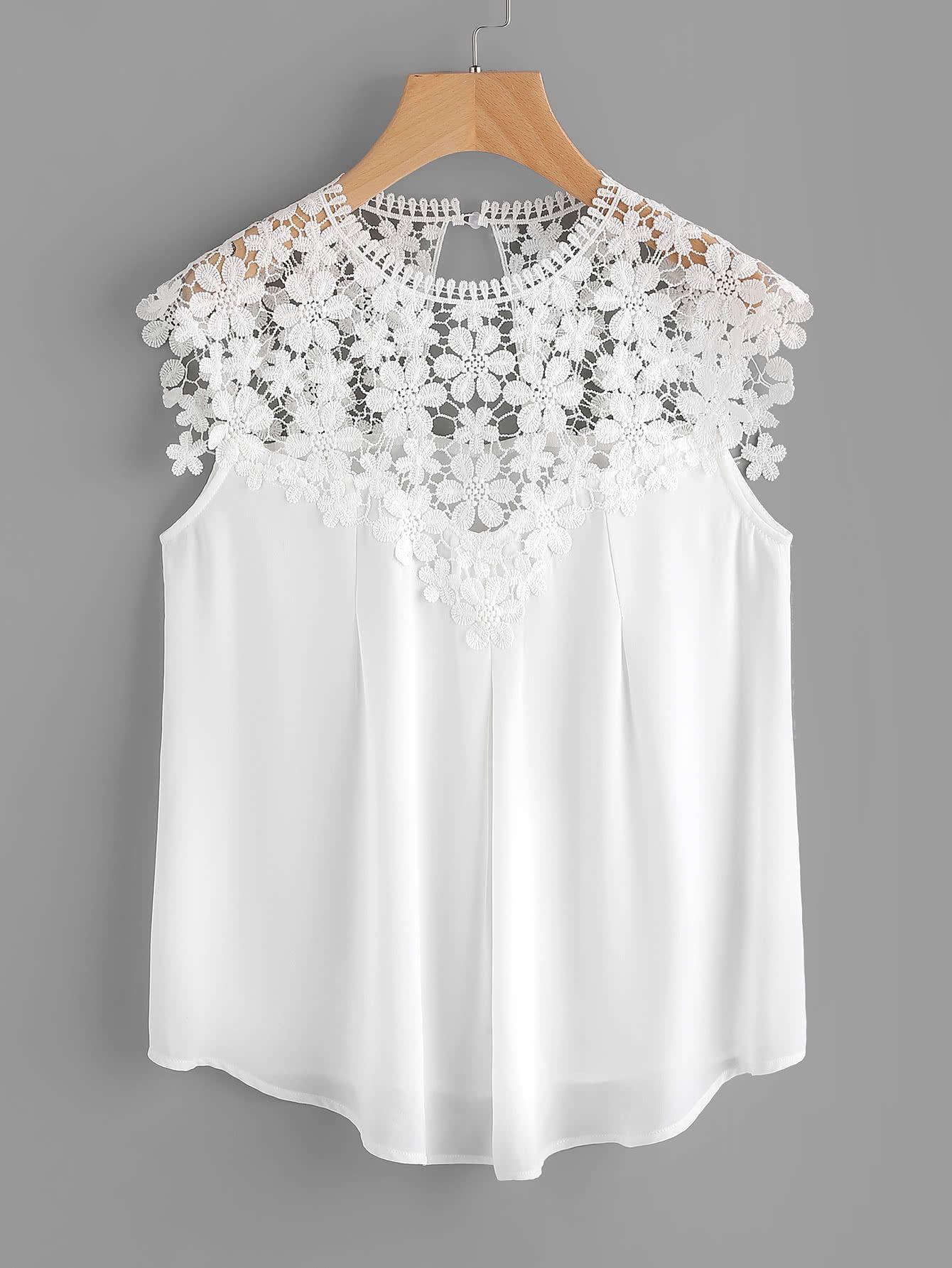 13c26fdee0 Shop Keyhole Back Daisy Lace Shoulder Shell Top online. SheIn offers  Keyhole Back Daisy Lace Shoulder Shell Top & more to fit your fashionable  needs.