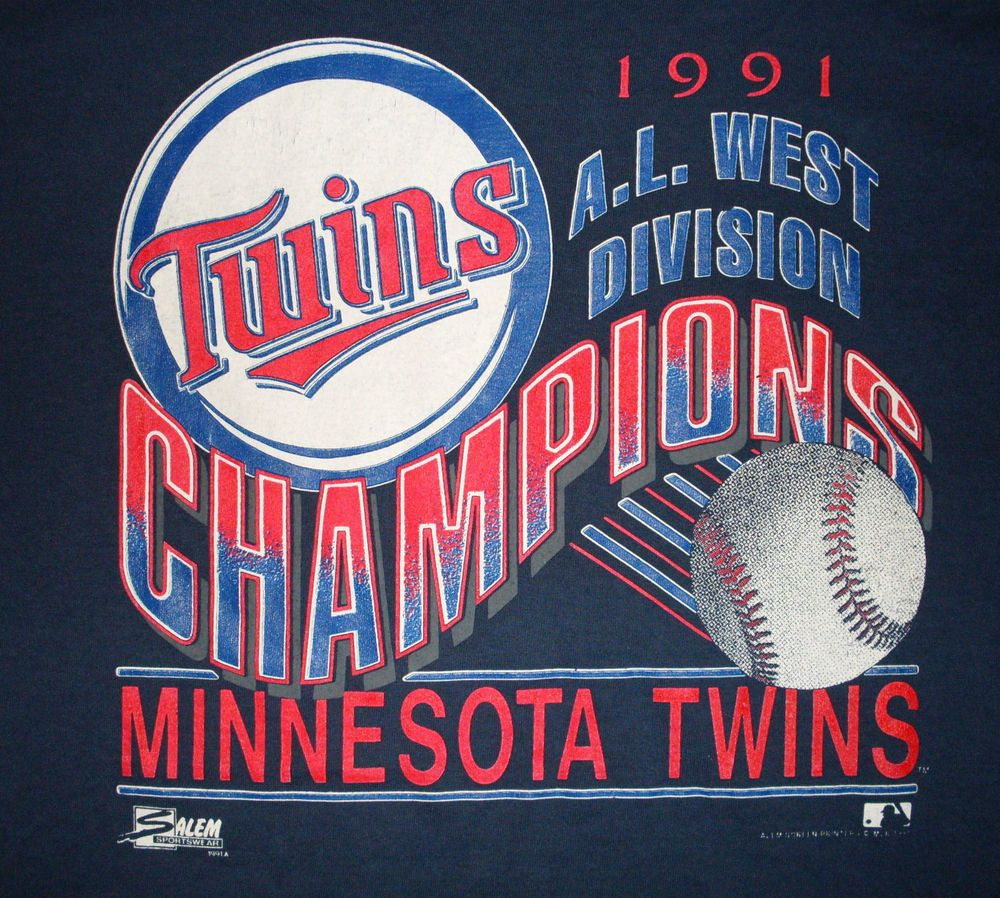 vtg Minnesota Twins T Shirt 1991 AL West Champs XL retro
