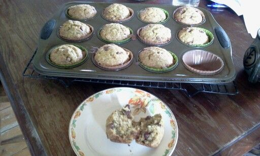 Banana and Choc Chip Muffins Based on the Easy and Delicious Banana Muffins, I added: 1 teas vanilla, 1 teas cinnamon and choc chips. I chose this recipe because it had 3 large bananas. I'm very impressed and will do it again.