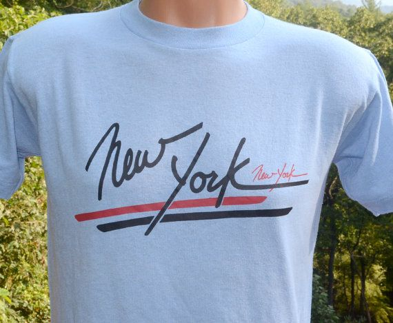 Vintage T Shirt NEW YORK City Nyc Tourist Souvenir Manhattan Tee Medium Small Light Blue