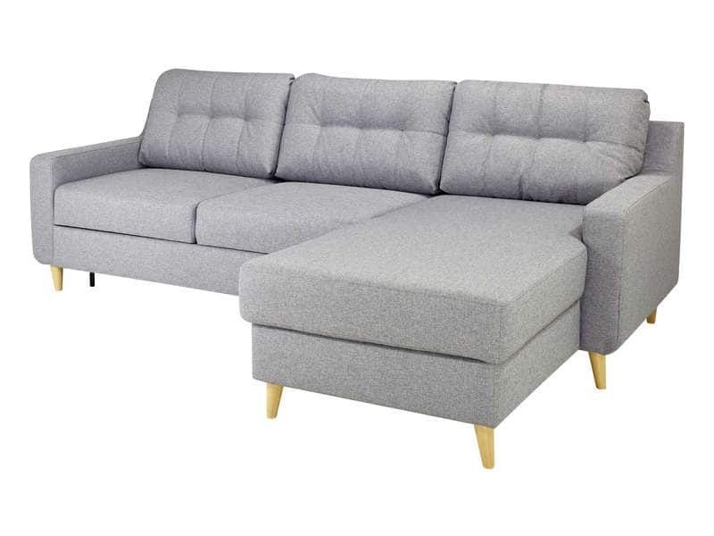 Canape D Angle Convertible Et Reversible 4 Places En Tissu 653777 Corner Sofa Sectional Couch Grey Fabric