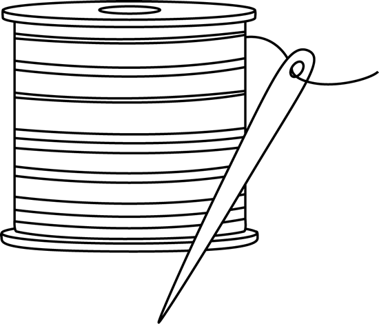 Black and White Needle and Thread Clip Art - Free sewing clip art ...