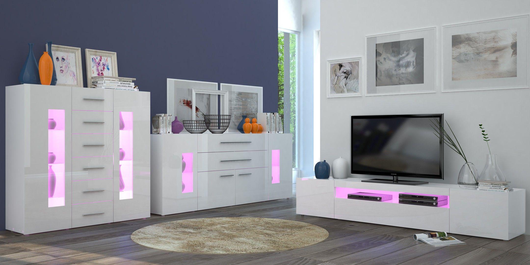 Meuble TV design laqué blanc 200 cm Adilah