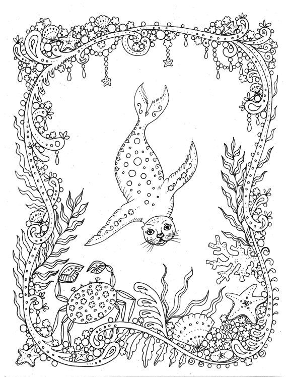 Download Coloring Page Fantasy Seal You Be The Artist Color Etsy Coloring Pages Animal Coloring Pages Coloring Books
