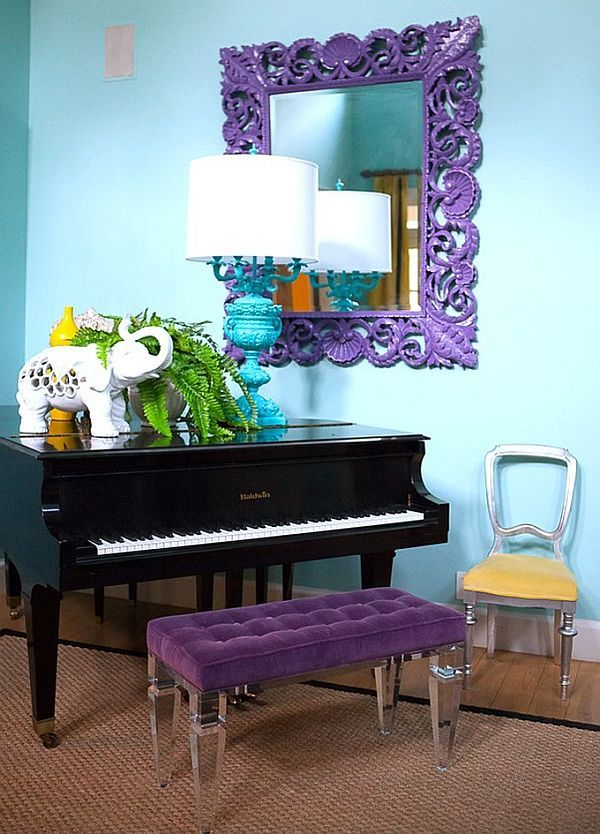 Purple Bedroom Bench: Turquoise Vibrant Interior Design From Jill Sorensen