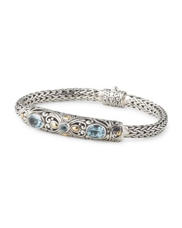 Made In Bali Sterling Silver And 18k Gold Accent Blue Topaz Bracelet Tj Mablue