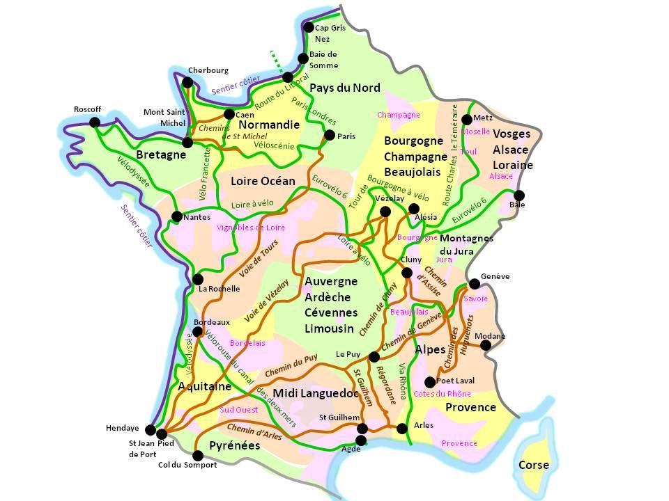 Carte Des Grands Itineraires De Randonnee Velodyssee Baie De