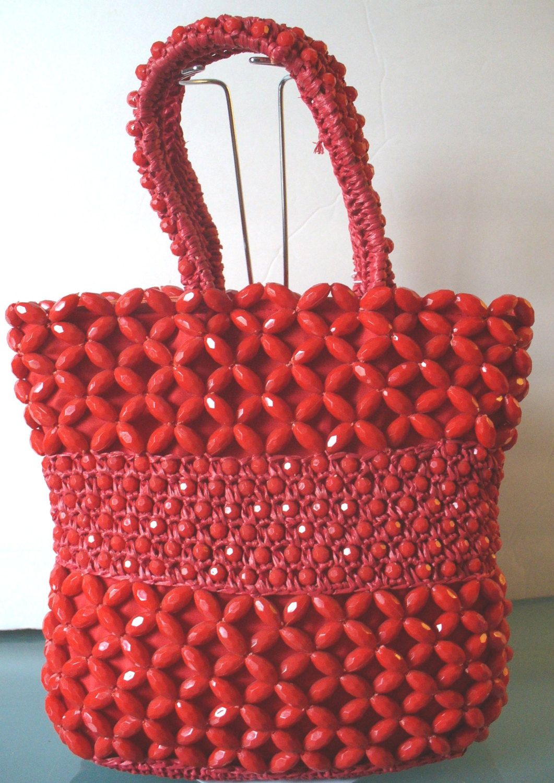 c36c0298da Vintage Delill Raffia   Lucite Bead Handbag Made in Italy by EurotrashItaly  on Etsy