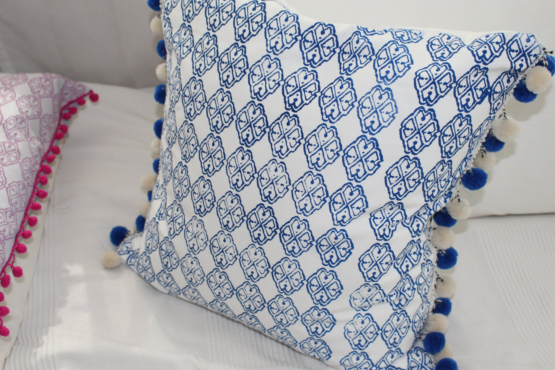Kissen Weiss Blau 50x50 Kissenbezug Sofakissen Zierkissen Bedruckt
