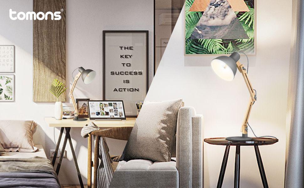 Tomons Swing Arm Led Desk Lamp Wood Designer Table Lamp Reading Lights For Living Room Bedroom Stud Living Room Lighting Bedside Night Stands Led Desk Lamp #reading #lamp #living #room
