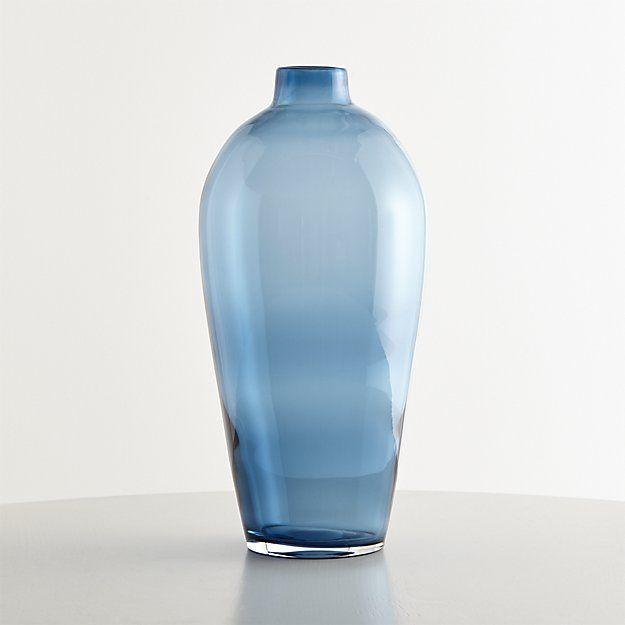 Ashby Large Navy Blue Glass Vase Crate And Barrel Living Room