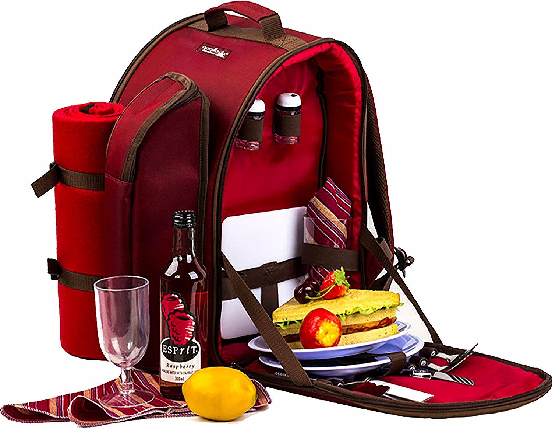 Apollowalker 4 Persone Zaino Da Picnic Borsa Termica Con Posate Coperta Strange Things In 2020 Picnic Backpack Picnic Cooler Bag Adventure Backpack