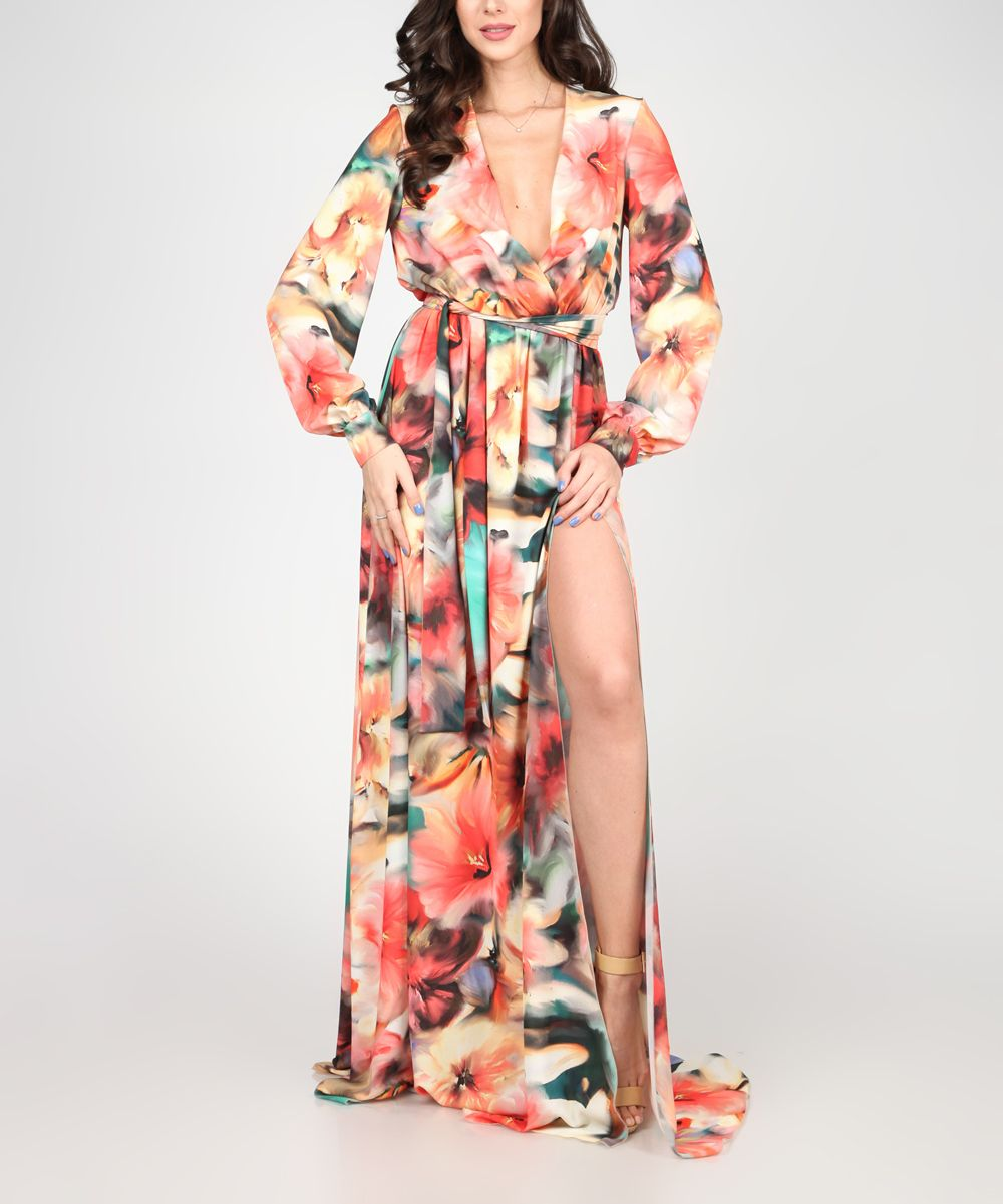 Orange u green floral maxi dress products pinterest floral