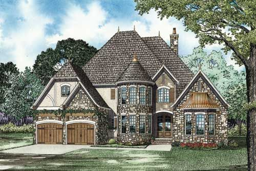 Plan 59950nd elegant european house plan with two story for Home plans with turrets