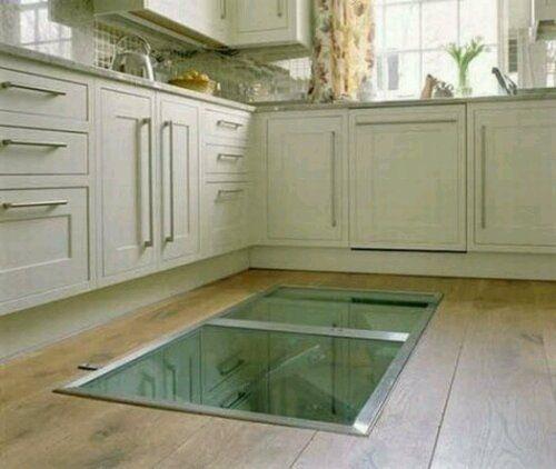 Glass Trap Door To Basement Spiral Wine Cellar Kitchen Flooring Trap Door