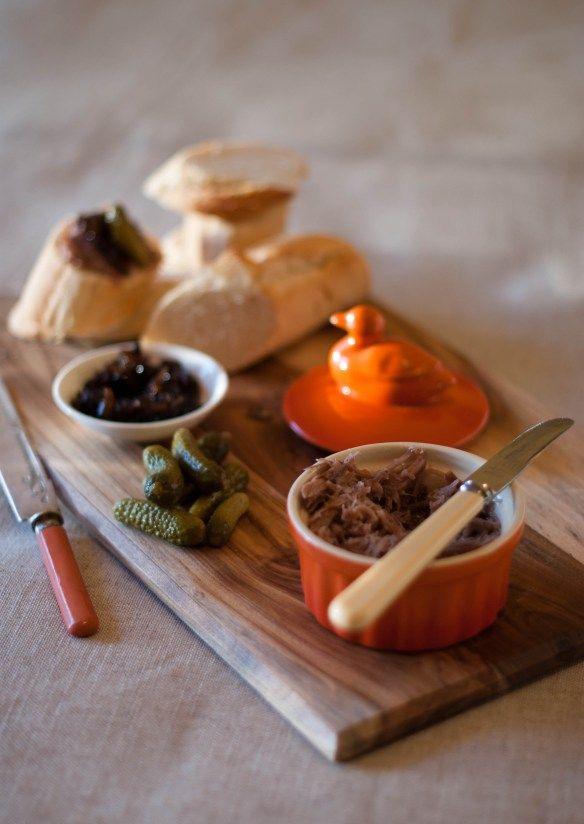 Duck rillettes with onion jam, cornichon, baguette