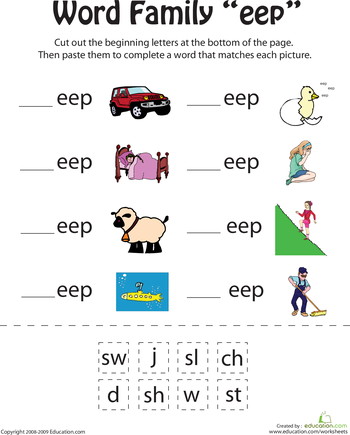all in the word family the eeps worksheets learning