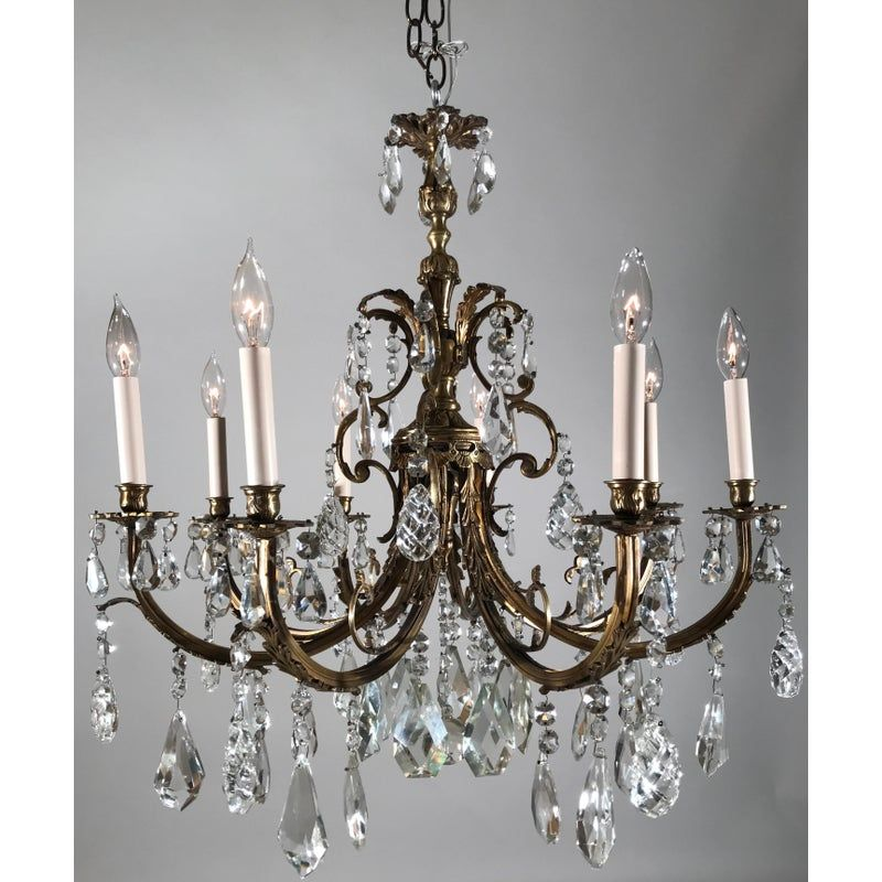 1920 Vintage French Bronze And Crystal Eight Light Chandelier In