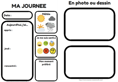 """Fiches """"Ma Journée"""" (Free Printable) - Maman Mammouth ..."""