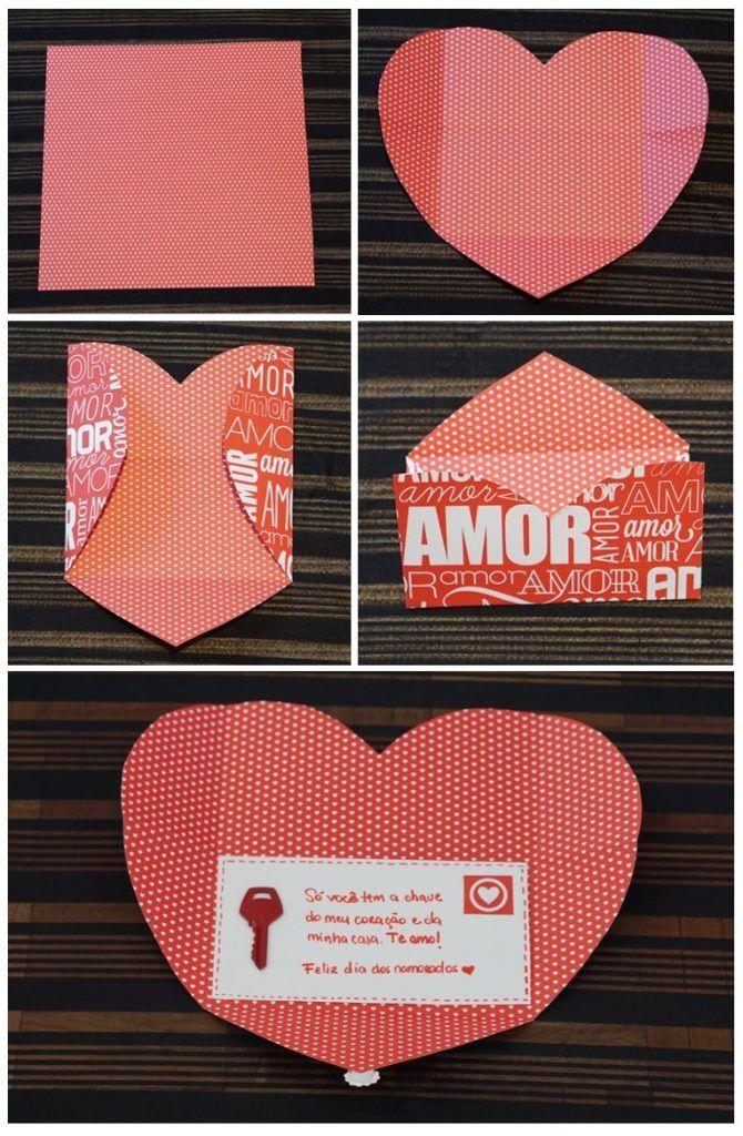 Cartão de coração super fácil e que tem tudo a ver com o tema. Também pintei uma chave, mas se quiser usar a sua mesmo, não pinte os dentes.
